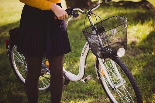 Bicycle, Basket, Girl, Grass, Bike