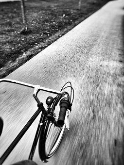 Bike On The Road, Black And White, Ride, Freehand