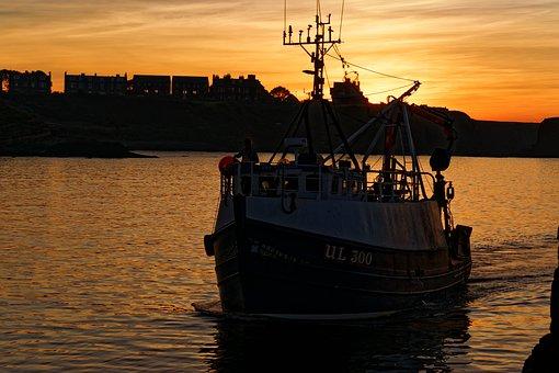 Fishing Boat, Boat, Sunset, Harbor, Dusk, Catch, Travel