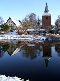 Winter, Berkenthin, Church, Pastorat, Mirroring