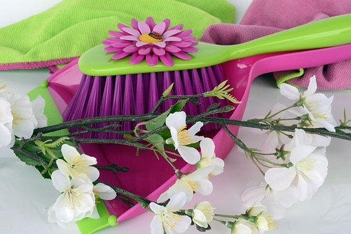 Clean, Spring Putz, Blade, Broom, Kehrset, Flowers