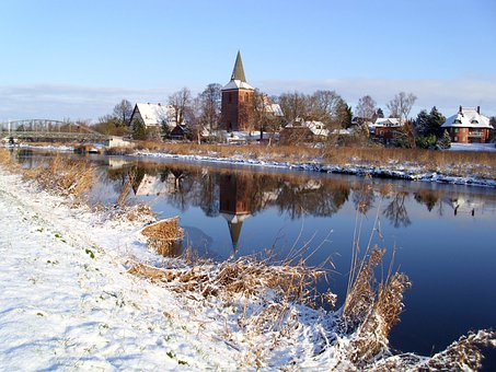 Winter, Berkenthin, Church, Elbe Lübeck Canal