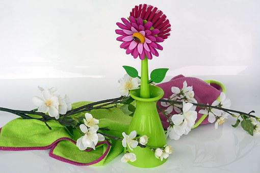 Clean, Spring Putz, Crockery Brush, Flowers, Pink