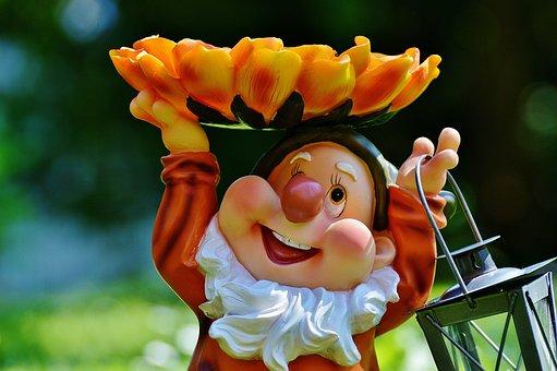 Garden Gnome, Lantern, Sweet, Cute, Funny, Flower