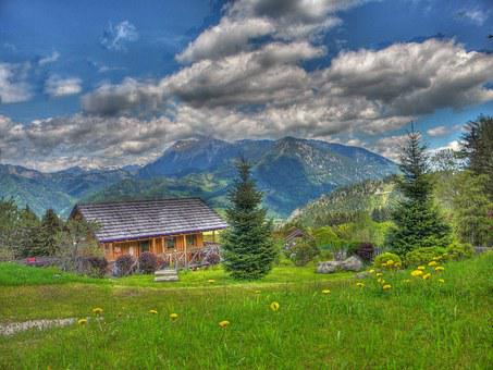 Alm, Hdr, Meadow, House, Hut, Tree, Nature, Landscape
