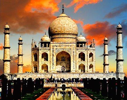 Taj Mahal, India, Taj, Mahal, Asia, Marble, Agra