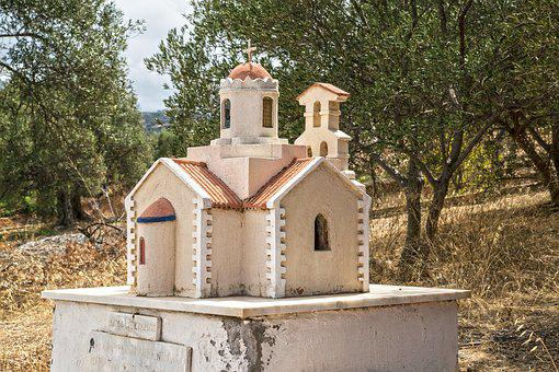 Greece, Crete, Church, Temple, Model, Little, Shrine