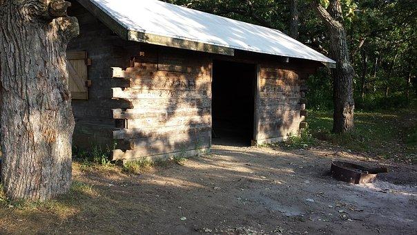 Log Shelter, Backpacking, Wisconsin