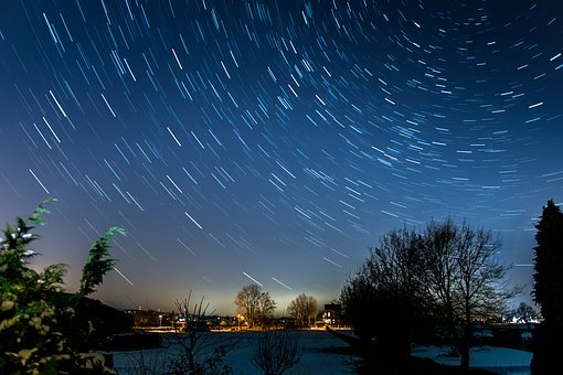 Startrails, Long Exposure, Star, Night, Starry Sky