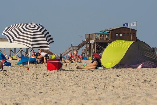 Beach, Parasol, Beach Shelter, St Peter, Ording