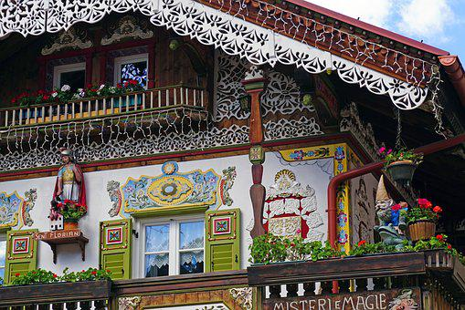 House, Roof, Balcony, Statue, Roofs, View, Architecture