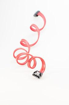 Cable, Sata, S-ata, Cut Out, Computer, Red, Connection