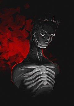 Dark Red, Skeleton, Digital, Figure, Bone, Dark, Horror