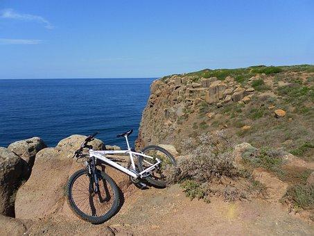 Marina, Bike, Solitude, Cliff, Leisure, Horizon