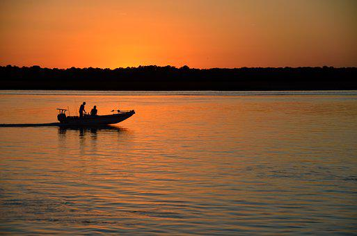 Sunset, Silhouette, Boat, People, Fishermen, Returning