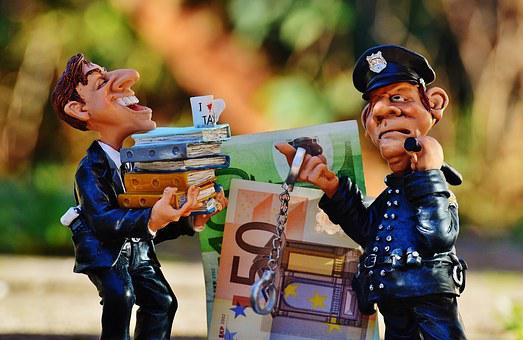 Taxes, Tax Evasion, Police, Handcuffs, Scam