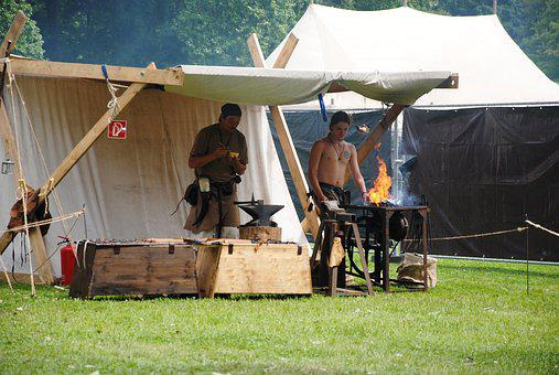 Middle Ages, Market, Blacksmith, Fire, Tent
