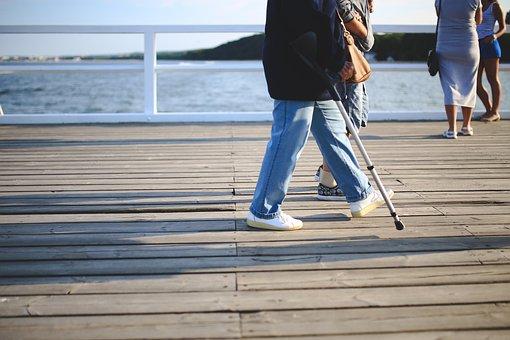 Woman, Crutch, Old, Walk, Walking, Jeans, Injury, Pier