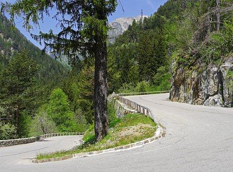 Pass Road, Serpentine, Alpine, Rock, Wall, Limit, Slope