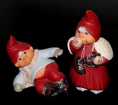 Gnomes, Christmas, Garnish, Winter, Skates