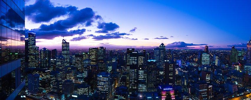 Skyline, Dusk, Melbourne, Cbd, Australia, Cityscape