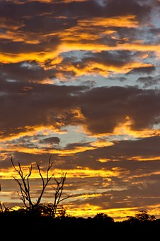 Sunset, Sky, Clouds, Orange, Gold, Grey, Dramatic