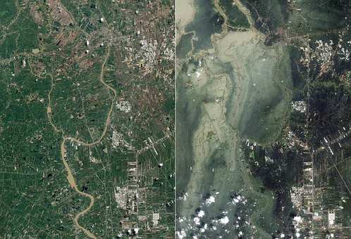 Flood, Tsunami, Ayutthaya, Satellite Image, Aerial View