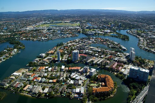 Gold Coast City, Canals, Houses, Waterway, Buildings