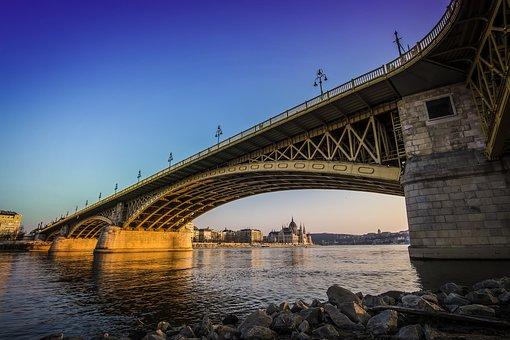 Light, City, Water, Buildings, Australia, Rocks, Bridge