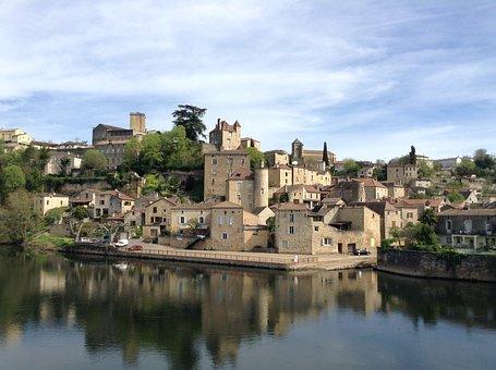 Puy L'eveque, France, Village, River, Medieval