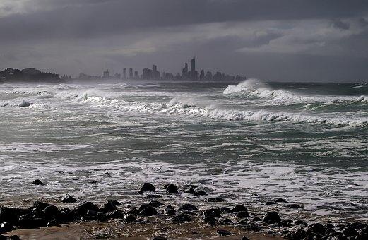 Gold Coast, Beach, Storm, Skyscrapers, Towers, Sea