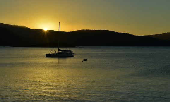 Airlie Beach, Ship, Sunset, The Scenery