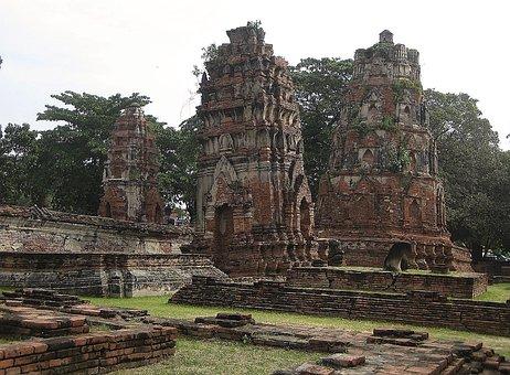 Wat Mahathat, Buddhist, Temple, Ayutthaya, Thailand
