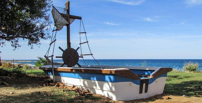 Cyprus, Protaras, Boat, Decoration, Garden, Tourism