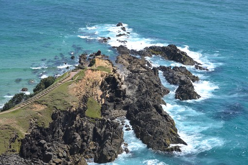 Byron Bay, Australia, Rocky, Ocean, Sea, Beach