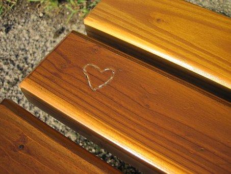 Heart, Wood, Bank, Heart In The Wood, Love, Board