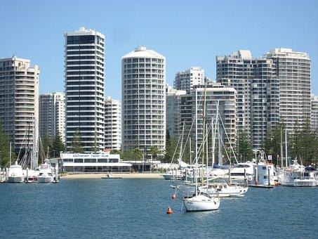 Australia, Gold Coast, Coast, Skyscraper, Boats