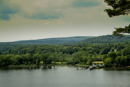 River, Outside, Hills, Boat, Ferry, Dock, Pier, Shore