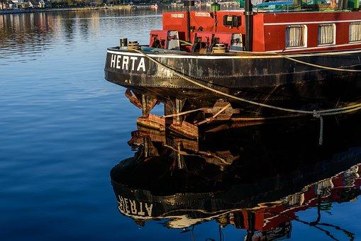 Port, Ship, Water, Lake, Sky, Wood, Fischer, Blue