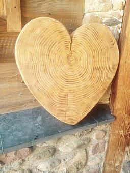 Heart, Wood, Deco, Nature, Heart In The Wood, Love