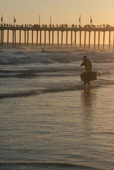 Body, Boarding, Pier, Sand, Beach, People, Young