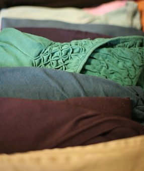 Blue, Laundry, T-shirt, Red, Stack, Clothes, Clothing