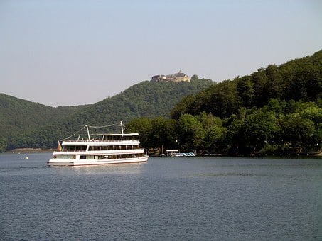 Steamer, Lake, Water, Sky, Boat Trip, Bank, Rest, Ship
