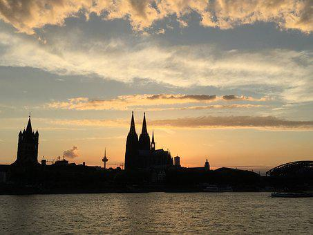 Cologne, Summer, Dom, Sunset, Romance