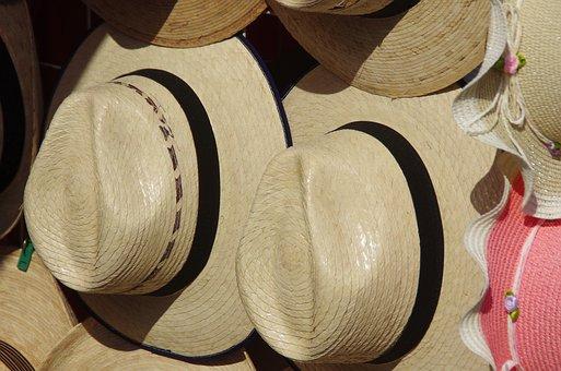 Mexico, Panama, Hats, Market, Display, Traditional