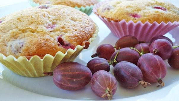Muffins, Gooseberry, Pink, Bake, Pastries, Baked Goods