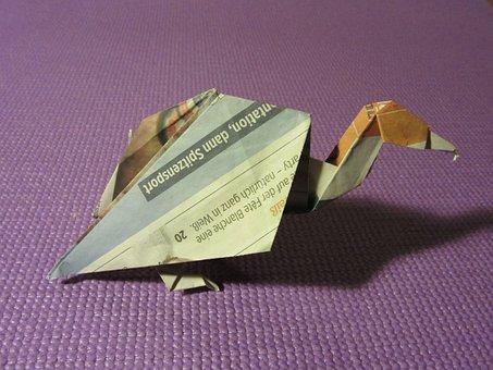 Origami, Vulture, Paper, Animal, Bird, Newsprint