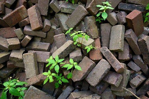 Brick, Stone, Block, Pile, Pile Of Bricks, Plants