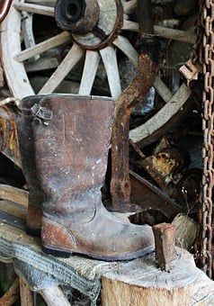 Work, Boots, Still Life, Wagon Wheel, Rural