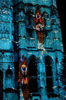 Rouen, Cathedral, France, Building, Show, Nocturne